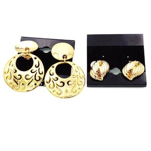 0239 2 Pairs Gold  Clip on Earring